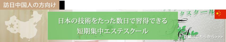 訪日中国人の方向け 日本の技術をたった数日で習得できる短期集中エステスクール